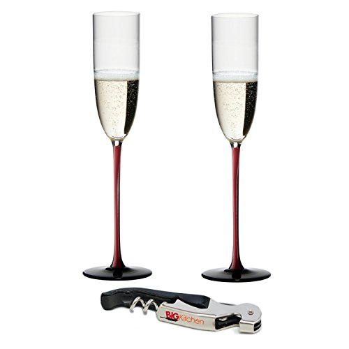 (Riedel Sommeliers R-Black Series Leaded Crystal 2 Piece Champagne Flute Set with Bonus BigKitchen Waiter's Corkscrew)