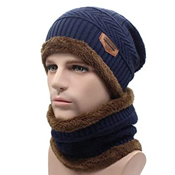 323b0f10 HOKUGA Winter Beanie Knitted Hat Scarf Skullies Beanies Men Winter Hats For Men  Women Caps Gorras