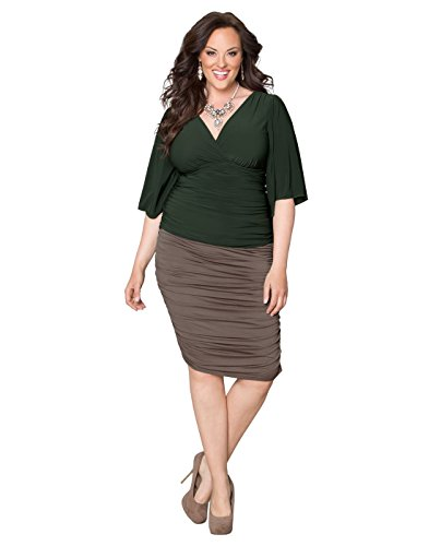 Kiyonna Women's Plus Size Riley Ruched Skirt 5X Antique Taupe