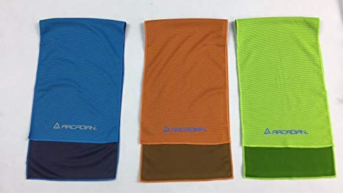Pack of 3 cooling towels for head and neck Enhanced absorbing capacity multiple assorted colors 2 layers moisture absorbent ultra smooth micro fabric Great for yoga, sports and everyday activities