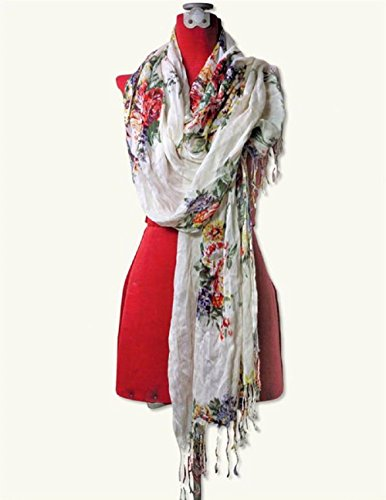 Victorian Trading Co Watercolor Floral Scarf & Shawl Rayon 72
