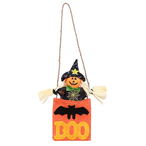 Connoworld Halloween Cute Pumpkin Witch Boo Door Hanging Ornament Holiday Home Hotel Decor Black Hat -