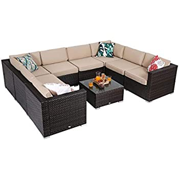 Amazon.com: PHI VILLA Juego de muebles de mimbre para ...