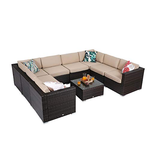 PHI VILLA 9-Piece Rattan Sectional Sofa Patio Furniture Set with Seat Cushions, Beige