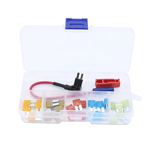 MonkeyJack 25 Pieces Car Boat Motorcycle Micro2 Blade Fuse 5A 7.5A 10A 15A 20A & Add-a-Circuit Fuse Holder