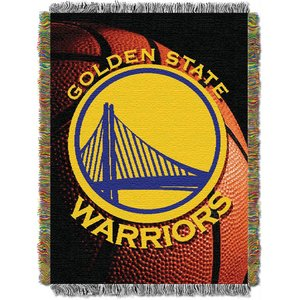 (Officially Licensed NBA Golden State Warriors Photo Real Woven Tapestry Throw Blanket, 48