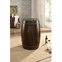 Rustic Wood Wine Barrel Refrigerator In Cherry Brown
