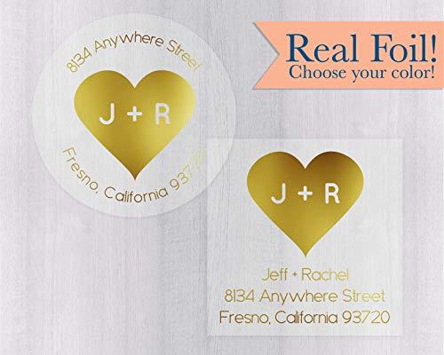 Wedding Return Address Stickers, Gold Foil on Clear Transparent Return Address Labels, Heart Envelope Seals (#149-CF)