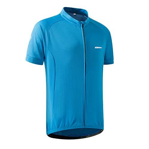 - KORAMAN Mens Reflective Cycling Jersey Short Sleeve Full Zipper with Back Zipper Pocket Bike Shirt-Moisture Wicking Breathable Blue L