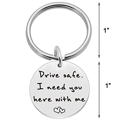 AXEN Key Chain Gift, Drive Safe I need you here with me, Round Style 1