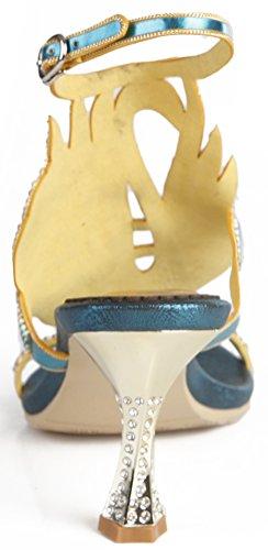 Mujer Destalonado Cuero cone Salabobo De Blue c4yz6wwBpq