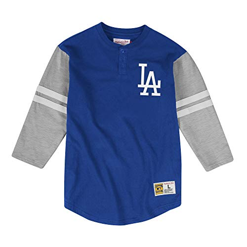 Mitchell & Ness Los Angeles Dodgers MLB Men's Team Logo 3/4 Sleeve Henley Shirt