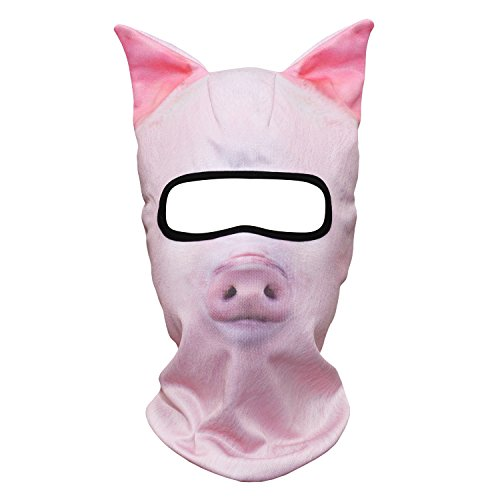 (WTACTFUL 3D Animal Ears Balaclava Breathable Windproof Face Mask Protection for Skiing Snowboard Cycling Motorcycle Music Festivals Raves Halloween Party Cosply Winter Outdoor Sports Pig MEB-07)