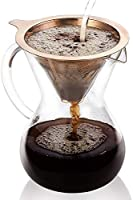 GVODE Pour Over Coffee Maker,5 Cup (27 oz/800ml) Hand Manual Coffee Dripper-Tough Borosilicate Glass Carafe plus Reusable...