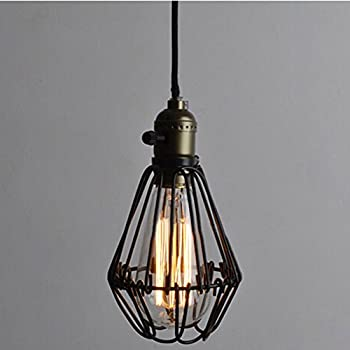 Vintage Pendant Light Chandelier Wire Cage Hanging Lampshade Retro Cafe Bar  Pendant Shape E27 Base Pendant