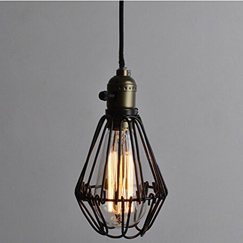 Vintage Pendant Light Chandelier Wire Cage Hanging Lampshade Retro Cafe Bar Pendant shape E27 Base Pendant Wire Cage Light Industrial Hanging Lamp Adjustable Edison Light 110V 40W (Basket Lamp Shade)