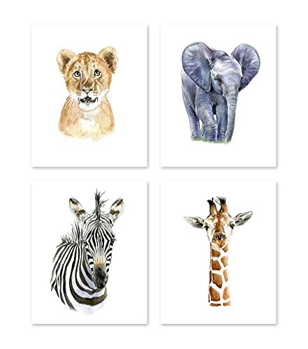 A2 Safari Theme Nursery Wall Art - Set of 4 - Watercolor African Baby Animals Paintings - Wildlife Zoo Jungle Posters Prints - Zebra Lion Giraffe Elephant - Kids Children Pictures Portrait (8x10)