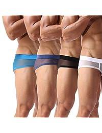 Men's Underwear Soft Mesh Breathable Boxer Briefs Low Rise Cool Boxers Pack Set