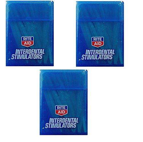 Rite Aid Wooden Interdental Teeth Gums Stimulators Plaque Remover Dental Picks   Pocket Carrying Case  100 Sticks   Pack   3 Pack