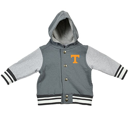 College Kids 15435 NCAA Tennessee Volunteers Children Unisex Infant Letterman Jacket, 6 Months, Pewter/Oxford