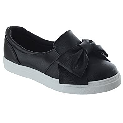 Ladies Women Flat Plimsolls Slip On Bow Pumps Trainers Sneakers Shoes Boots Size