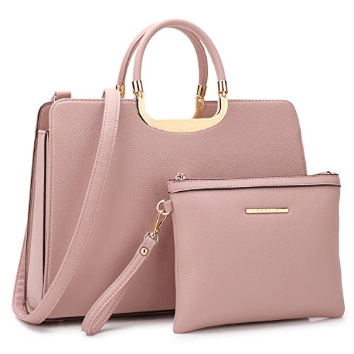 (Purses and Handbags for Women Ladies Tote Bags Large Shoulder Bags Top Handle Satchel with Wristlet Set 2pcs (01 Pebbled Leather- Pink))