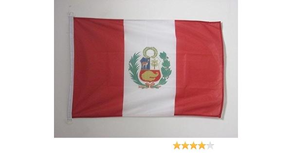 AZ FLAG Bandera de PERÚ 90x60cm Uso Exterior - Bandera PERUANA 60 x 90 cm Anillos: Amazon.es: Hogar