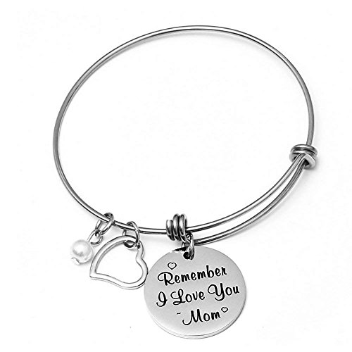 Eunigem Charm Bracelet for Women Mom Remember I Love You Mom Stainless Steel Adjustable Bangle for Mother Birthday from Daughter Son Personalized for Mom