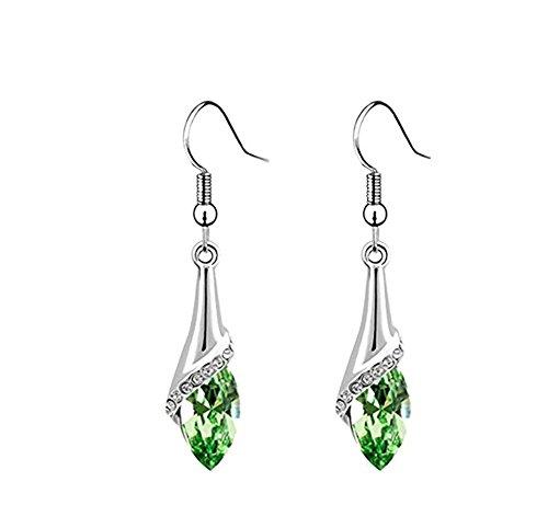 Hosaire 1 Pair Fashion Charm Elegant Square Diamond Earrings Silver Jewelry Earrings Stud For Women Girls Present