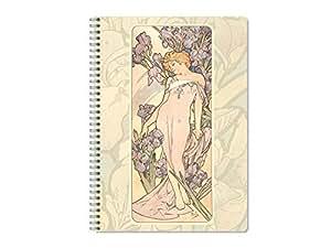Decorativo A4 Wire Bound Diario - Maiden & Iris Flores por Alphonse Mucha