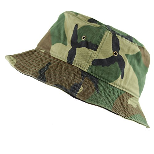 The Hat Depot 300N Unisex 100% Cotton Packable Summer Travel Bucket Hat (L/XL, Woodland Camouflage)]()