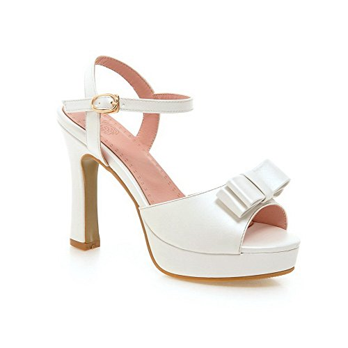 AmoonyFashion Womens Buckle Open Toe High Heels Pu Solid Sandals with Bows White tR98dFt1nc
