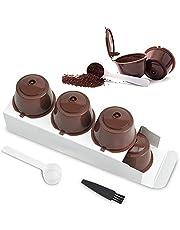 LEZED Dolce Gusto Koffiecapsule, herbruikbare koffiecapsules, koffiecapsules, vulling met Dolce Gusto koffiecapsules, compatibel met koffiefilter, navulbare koffiecapsules, 3 stuks met lepel en kwast