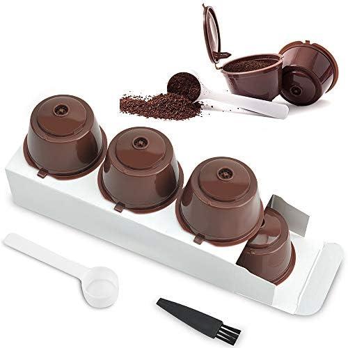LEZED Cápsula Filtros de Café Recargable para Dolce Gusto Filtro de Cápsula de Café Reutilizable para Máquinas De Café Cápsulas de Café para Cafetera Dolce 3 Piezas con Cepillo de Limpieza Cuchara: