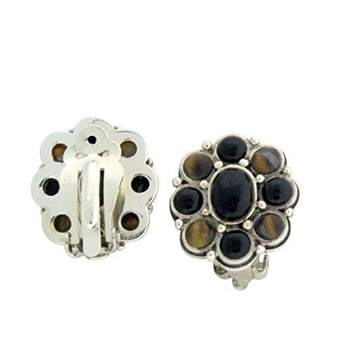 Sterling Silver Multicolor Stone Clip On Earrings, Onyx Tiger (Clip Tigers Eye Earrings)