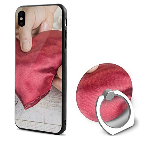 Step Step How to Make Heart from Red Satin Textile iPhone X Case iPhone 10 Case Scratch Proof Suitable 5.8 Inches