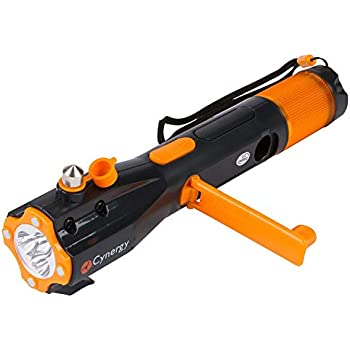 LifeLight LED Emergency Flashlight Car Window Breaker Seatbelt Cutter - Hand Crank Charger Water Resistant Multi-Purpose Hand Crank Flashlight, Emergency Car Escape Toolkit, Flashlights with Emergency Phone Charger . (Orange)