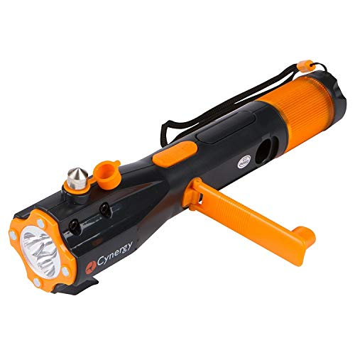 LifeLight LED Emergency Flashlight - Hand Crank Rechargeable Water Resistant Multi-Purpose Flashlight, Emergency Car Toolkit, Flashlight for Carefree Camping, Hiking. (Orange)