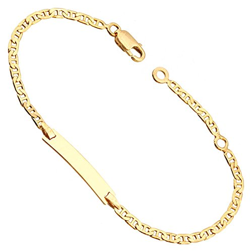 Orleo - REF7081BB : Bracelet identité Enfant Or 18K jaune - Maille Marine 14 cm - Fabriqué en France