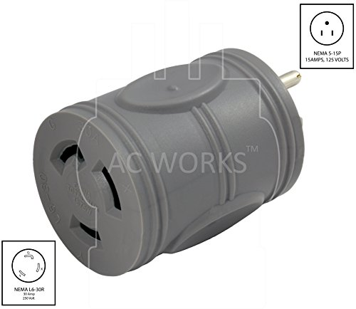 AC WORKS [EV515L630] EVSE Upgrade Electric Vehicle Charging Adapter 15Amp Household Plug to L6-30R Female Connector by AC WORKS (Image #1)