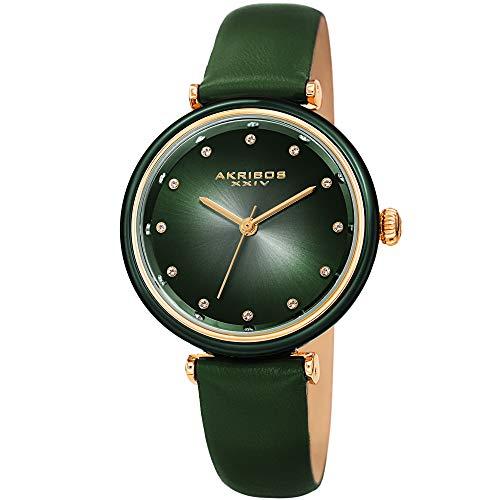 Akribos XXIV Leather Women's Watch – Genuine Swarovski Crystal Markers on Two Tone Gradient Dial Sunray Dial – Elegant Green Skinny Strap – ()
