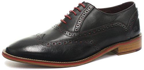 London Brogues George Oxford Herren Brogue Halbschuhe Black Leather