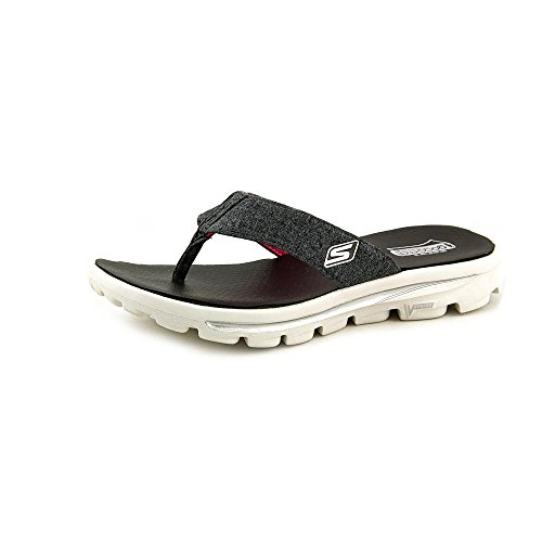 Skechers Go Walk Move Solstice Womens Flip Flop Sandals Black/White 9