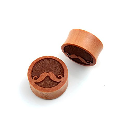 Pair Double Flare Sawo Wood MUSTACHE DESIGN Ear Plug Gauges (4 Millimeters) by JewelryVolt (Image #1)