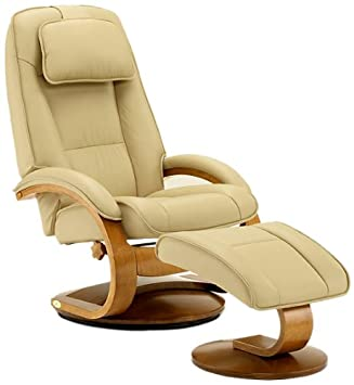 Captivating Mac Motion Oslo Collection Recliner With Matching Ottoman In Cobblestone  Top Grain Leather With Walnut Frame