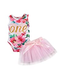 YAYAbaby Baby Girl Summer Outfits 1st Birthday Romper Top Sleeveless Floral Tutu Skirt 2Pcs Clothing Set