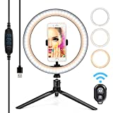 10' Ring Light LED Desktop Selfie Lamp 2700-6500K Dimmable 3 Colors 10 Brightness with Tripod Stand & Cell Phone Holder and Remote Control for YouTube Video Makeup USB LED Desk Camera Ringlight