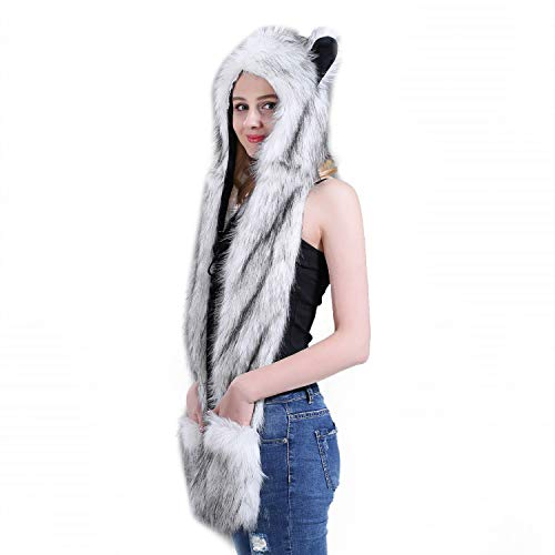 3-in-1 Novelty Cartoon Hood Earflap Cap Hat Scarf Gloves Mittens Function Furry Hoodie Plush Beanie]()