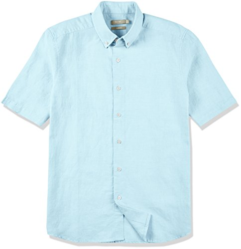 Lake Short Sleeve Shirt - Isle Bay Linens Men's Slim Fit Short Sleeve Button-Down Collar Casual Woven Shirt Chambray Blue Lake XX-Large