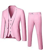 طقم بدلة رجالي من 3 قطع بمقاس نحيف، سترة سادة بزر واحد مع ربطة عنق